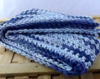 Denim Blues multicolor 100% cotton kid size crocheted scarf
