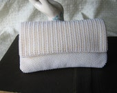 Vintage 1960's White Plastic Beaded Two Sided Pouch