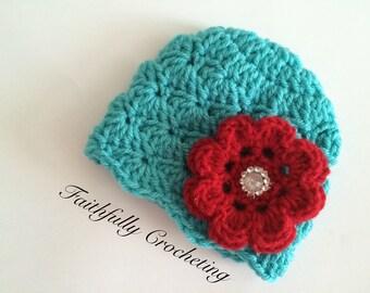 Newborn beanie.. Crocheted flower hair clip.. Ready to ship