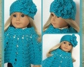 Doll Clothes Made To Fit 18 Inch Dolls, Crochet Poncho Set Large Flower Hat, Beautiful Turquoise, Rhinestones