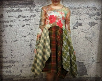 S-M Bohemian Plaid Flannel Dress// Upcycled// emmevielle