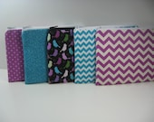 Set of 10 Small Embroidered Makeup Bags - Personalized Clutch - Monogrammed Zipper Pouch - Your Choice, Made to Order