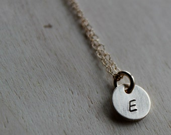 FREE SHIPPING. Small Circle Hand Stamped Charm. Gold
