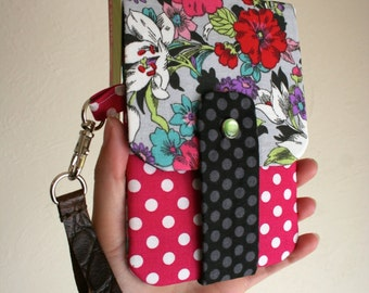 Beautiful Floral Print with Hot Pink Polka Dots- Phone Wallet with Card Slots and Zipper- Leather Wrist Strap