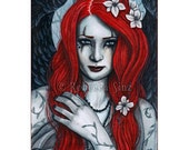 Crimson Limited Edition ACEO Print gothic angel red Artist Trading Cards ATC Fantasy Art Red Wings Tattoos