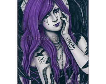 Violet Limited Edition ACEO Print gothic angel purple black Artist Trading Cards ATC Fantasy Art