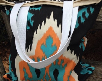 Ikat tote, tote bag, large tote, purse, beach bag, beach tote, large bag, bridesmaids bags, bridesmaids totes, tote, ikat, summer tote
