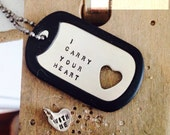 I Carry Your Heart dog tag  and sterling silver HEART CHARM (INTERTWINE)