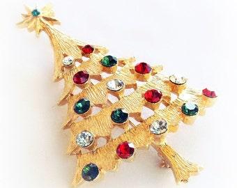Vintage Corel Christmas Tree Pin Rhinestone Ornaments Gold Plated