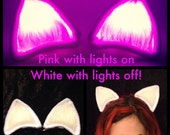 Clip On Cat Ears Pink and White Costume LED Kitty, Rave Cheshire Cat Glow In The Dark Outfit My Little Pony Cosplay Ravewear, EDC Blacklight