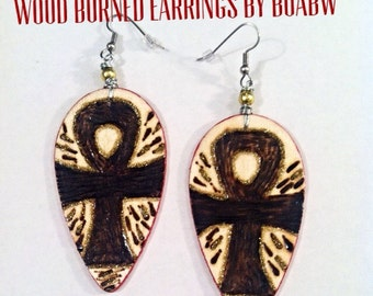 Ankhs (Wood Burned) Earrings