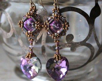 Victorian Inspired Hand beaded Lavender Swarovski Crystal Hearts with 14kt gold filled ear wires