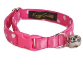 Cat Collar for Girl - Pink Collar for Cats - Non Breakaway Collar - Stretch Cat Collar - Safe Cat Collar - Cute Pink Collar - Pink Polka Dot
