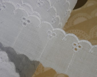 "White Eyelet Lace - Broderie Anglaise - Cotton Sewing Trim - 1 1/2"" Wide"