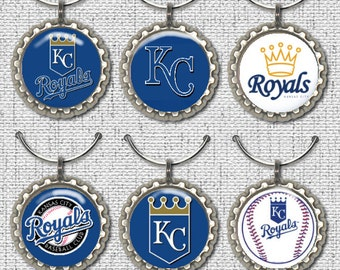 Kansas City Royals Bottle Cap Wine Glass Charms Markers