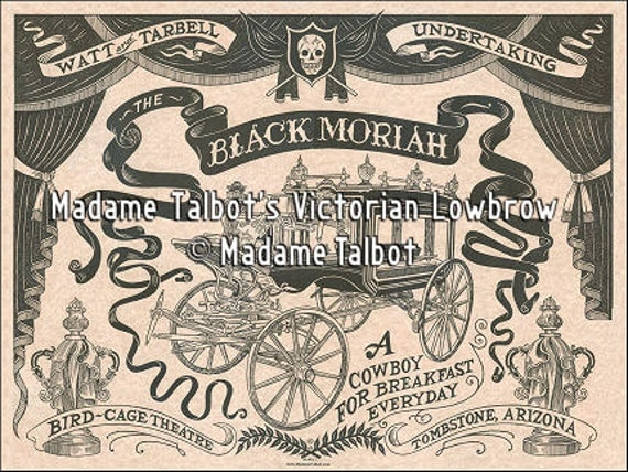 Tombstone Black Moriah Funeral Hearse Undertaker Victorian Lowbrow Poster