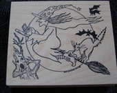 Witch Flight Halloween wood mounted Rubber Stamp