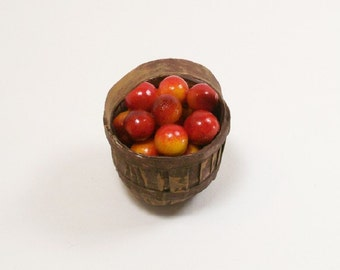 Fruit Basket Apples Peaches 1:12 Dollhouse Miniature Inch Scale Artisan