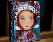 On Sale - Price already reduced -  Angel Girl with Hearts - Original Mixed Media Painting on Canvas by FLOR LARIOS (5 x 7 inches)