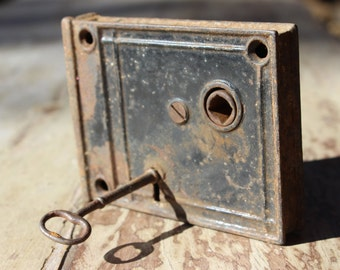 Antique Door Hardware Lock with Key Lock and Key Vintage Door Hardware