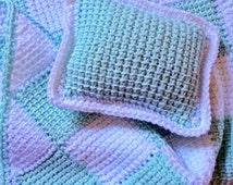 Crochet, Doll Afghan, Crochet Pillow-Tunisian Crochet-Entrelac Crochet, Quiltsy Handmade
