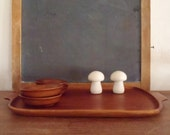 Vintage Modern Teak Wood Serving Tray & Four Bowls