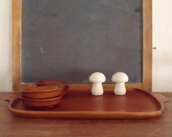 Vintage Modern Teak Wood Serving Tray & Four Bowls