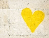 "Fine Art Photography, Paris ""Graffiti Heart,"" Paris Photography, Extra Large Wall Art Print, Yellow Wall Art"