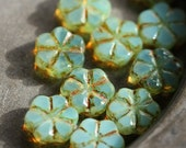 sale .. SPRING BLOOMS .. 10 Picasso Czech Flower Glass Beads 10x3mm (4232-10)