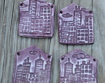 Pottery Pendant Little House in the City in Blueberry