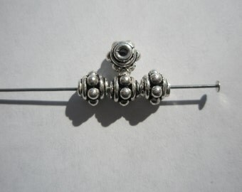 Antiqued Sterling Silver Bali style beads - 6x5mm - 4
