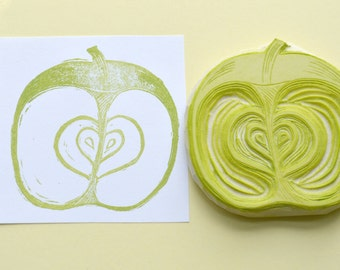 apple stamp, hand carved rubber stamp, handmade rubber stamp