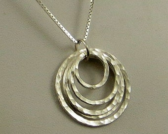 Layered Circle Necklace, Fine Silver Necklace, Fused Fine Silver Gifts for Her Ready to Ship