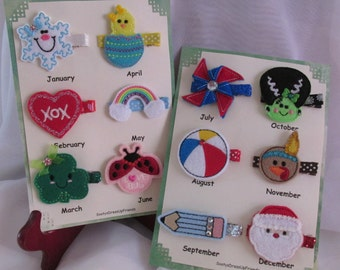 A '12 Month Holiday' Hair Clip Set with a FREE Birthday CupCake Hair Clip