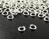 Jump Rings 100 Shiny Silver Bright Unsoldered Closed Brass 5mm 18 gauge (1039jum05s1)