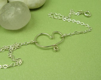 CHERISH HEART ANKLET, sterling silver heart anklet cable chain, open heart anklet