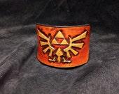 Tooled leather Zelda Triforce cuff bracelet