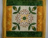 Embroidered  Mug Rug Coaster or Mini Quilt #3