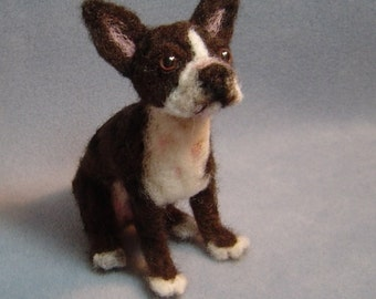Custom made needle felted Dog sculpture pet replica memorial portrait