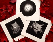 Gastly, Gengar, Haunter Pokemon Illustrations SET OF THREE -- Limited Print Run of 15 Each