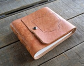 Medium Hand Dyed Tan Rustic Hand Embossed Ohio Leather Journal, Ohio Tan Leather Sketchbook Snap Closure, Rustic Leather Travel Journal