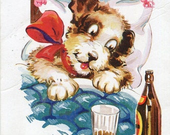 Funny dog vintage postcard, Booze, hangover post card English humorous Dog postcard- A little of what you fancy does you good