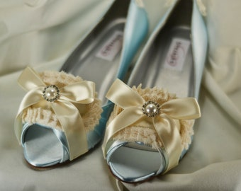 Special Size 8W - Marie Antoinette Ivory and Blue Lace Peep-Toe Heels