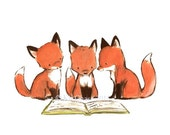 "Children's Art -- ""FOXY BOOK CLUB"" -- Archival Print"