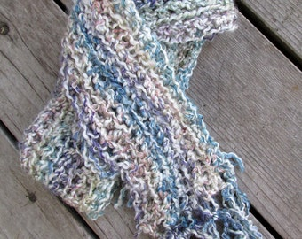 Ready to ship cozy soft acrylic fluffy scarf pale tones blues creams and more on sale
