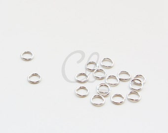 100pcs White Gold Tone Brass Base CLOSED Jump Rings- 5.5mm (1206)