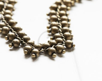 One Foot Handmade Oxidized Brass Fancy Chains-Multiple Balls 9.4mm
