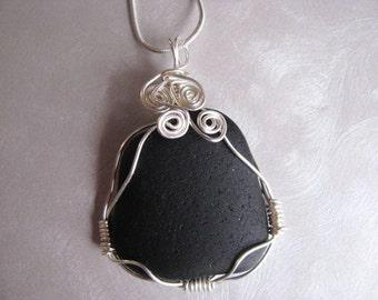 Wire Wrapped Rare Black Sea Glass Statement Pendant  - Beach Glass Pendant - Beach Glass Jewelry