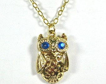 Golden Owl Necklace, Goldtone owl with blue crystal eyes chain necklace, owl pendant necklace