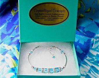 Swarovski Crystal Sterling Silver Double Tube Adjustable Bracelet Colors: Aquamarine,Rose,Khaki Green,Vitrail Medium,Amethyst
